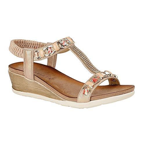 Cipriata Mujeres/Señoras Brizia Jeweled elástico Halter trasero cuña sandalia, color Dorado, talla 41 EU