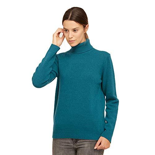 Brunella Gori Maglione Pullover Dolcevita Donna in 100% Lana Vergine Color Blue Ottanio Taglia XL