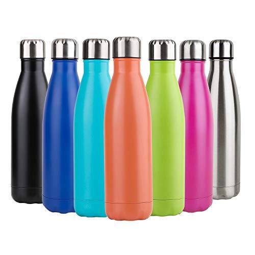 Hotchy Edelstahl Trinkflasche, Vakuum Isolierte Thermosflasche, BPA Frei 500ml Wasserflasche Auslaufsicher Thermoskanne für Kinder, Schule, Sport, Outdoor, Fahrrad, Fitness, Camping - Orange
