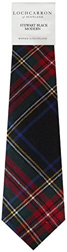 I Luv Ltd Gents Neck Tie Stewart Black Modern Tartan Lightweight Scottish Clan Tie