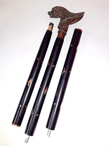 Bastón de madera con mango de cabeza de lobo de latón para hombres y mujeres, varitas victorianas, mango de latón, bastón de caminar de 36 a 94 cm