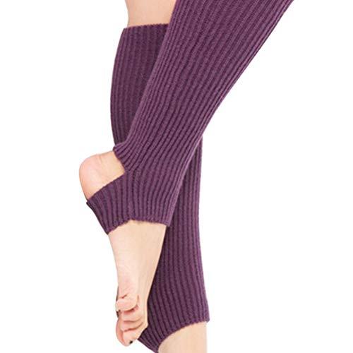 TENDYCOCO Beinwärme Gestrickte Beinstulpen Ballettstulpen mit Fersenloch Overknees Stulpen für Damen Mädchen (Lila)