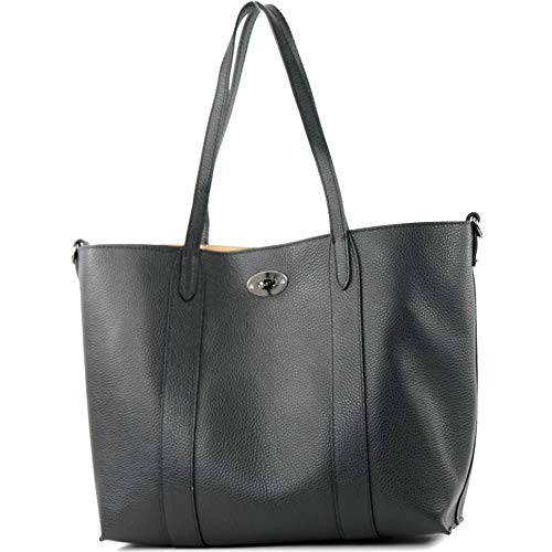 modamoda de - T187 - ital. Shopper DIN A4 Leder Damentasche mit Innentasche, Farbe:Schwarz