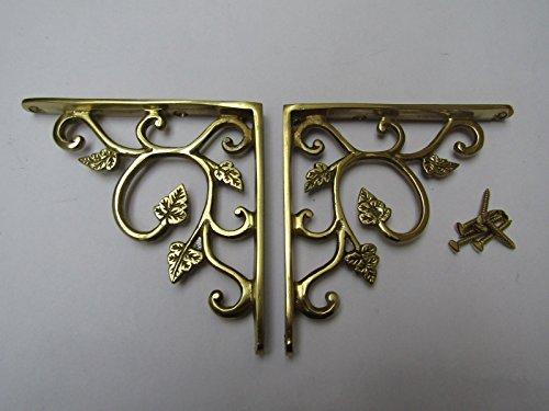 Ironmongery WORLDPAIR of Small Leaf Brackets Rustic Shelf Bracket Wall Support Books Storage (Antique Brass)