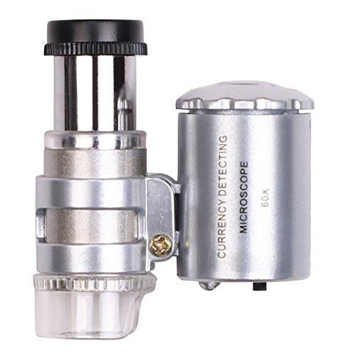 Mini Handlupe Beleuchtete Lupe 60x LED Mikroskop Leselupe Metall Einstellbare Taschenlupe Vergrößerungsglas für Uhrmacher Juwelier Taschenmikroskop Augenlupe mit Acryl Linse