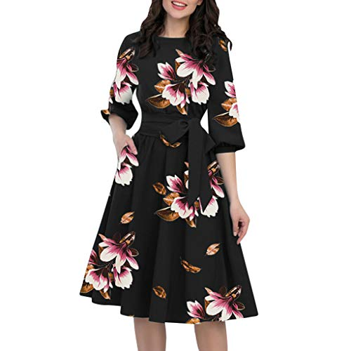 TWIFER Damen A-Line Kleider Sommerkleid Laternenärmel Rundhals Plissee Kleid Casual Mini Strandkleid Partykleider Ballkleid