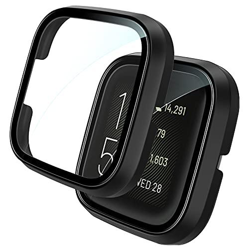 TOCOL 2 Stück Schutzhülle Panzerglas für Fitbit Versa 2, 360° R&um Schutzhüll Schutzfolie & Gehäuse Integriertes Formteil gegen Kratzer Keine Blasen Schwarz