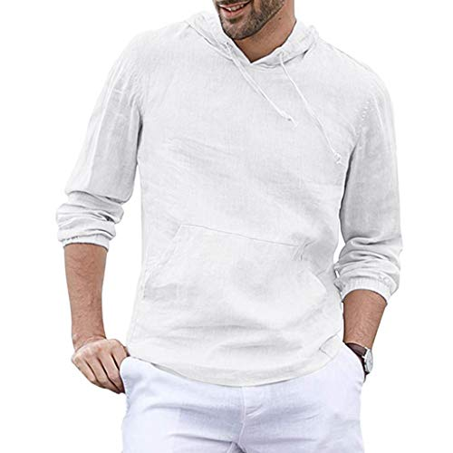 Tyoby Herren Mode Baggy Baumwolle Leinen Kapuzen Tasche Solide Langarm Tops Retro Schnitt Oberteil Hoodie(Weiß,XXL)