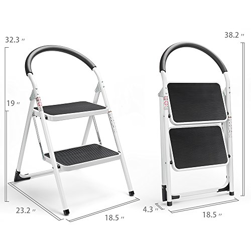 Delxo 2 Step Stool Folding Step Stool Steel Stepladders with Handgrip Anti-Slip Sturdy and Wide Pedal Steel Ladder Hold Up to 330lbs White and Black Combo 2-Feet