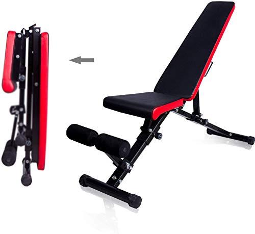 Horizontal Gewichtheben Bett, Klappbett Gewichtheber - Gewichtheben Bett, faltbare Hocker Bauch maximale Belastung 300 kg,BlackRed