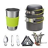 Utensilios de cocina de camping kit con estufa, cocinar al aire libre Set Palo Pot no Ligera y sartenes con mochila de senderismo Utensilios de engranaje de 1 a 3 personas que viajan trekking ,Verde