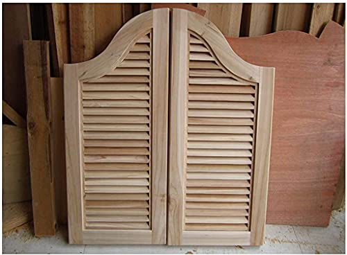RTSFKFS Interior Doors Unfinished Cafe Doors Solid Wood Louvered Doors Saloon Swing Bar Pub Swinging Door Space Partition Automatic Closure, Fits Any 70-150 cm Door Opening Sizes Home Accessories