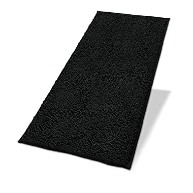 MAYSHINE Non-Slip Bathroom Rugs Shag Shower Mat Machine-Washable Bath mats Runner with Water Absorbent Soft Microfibers - 27.5x47 inch Black