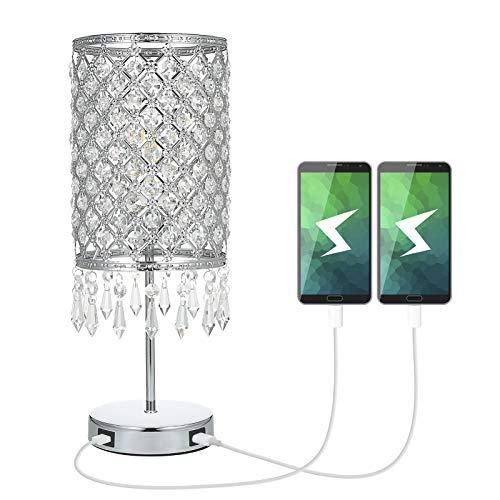 Kristall Tischlampe Tischleuchte mit 2 USB Anschlüssen,Tomshine Nachttischlampe,Touch Tischleuchte mit K5 Kristall Dimmbar für Wohnzimmer,Schlafzimmer,Esszimmer
