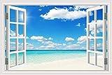 Natürliches blaues Meer Klarer Himmel Sommerwelle Surfen Sonnenschein Strandwolken Landschaft Wandaufkleber Kunst PVC Aufkleber Wandbild Tapete Poster 3D Fenster Schlafzimmer Dekor