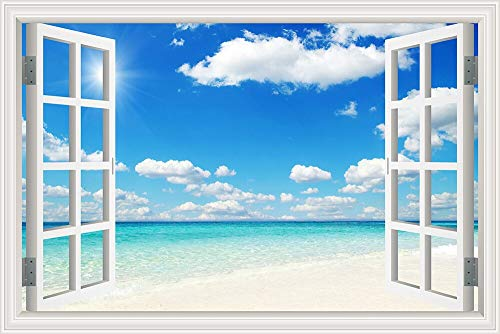 Nature Scenery Sunshine Beach Waves Blue Sea Sky Clouds 3D Window View Landscape Wall Sticker PVC Art Decal Wallpaper Bedroom Living Room Home Decor Mural