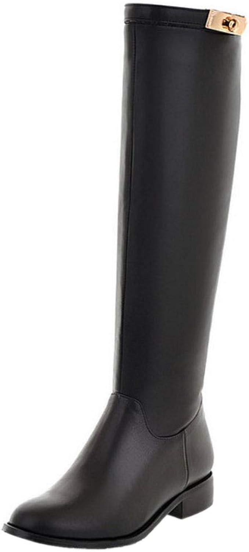 NIGHT CHERRY Women Csual Flat Knee Boots Zipper