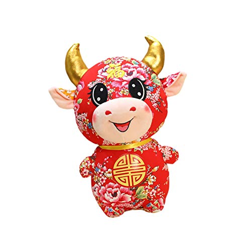 Dreameryoly 2021 Año Nuevo Chino Animal de Felpa Ganado Vaca China Felpa Buey de la Suerte Animales de Peluche Buey Juguete para Año Nuevo Oficina en casa Fiesta de Coches Decoraciones opportune