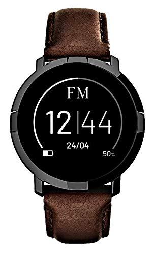 FLORENCE MARLEN | Design Italiano | Smartwatch Uomo-Donna FM1R Milano Cinturino Pelle Marrone | Orologio, Fitness Tracker, Impermeabile | Cardiofrequenzimetro, Contapassi, Notifiche | IOS & Android
