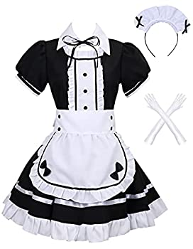 Colorful House Women s Cosplay French Apron Maid Fancy Dress Costume  Medium Black