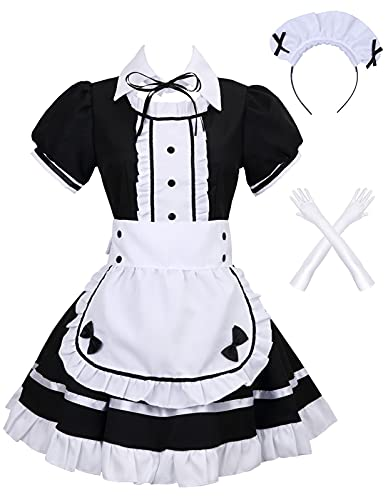Colorful House Women's Cosplay French Apron Maid Fancy Dress Costume (Large, Black)