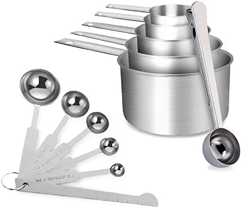 Measuring Cups and Spoons Set of 12 Piece Stainless Steel Measuring Cups and Spoons with level product image