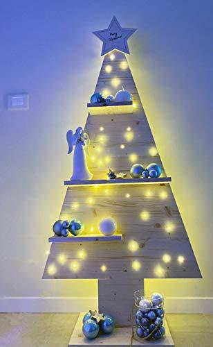 Mami | Albero di Natale | Alberello di Natale in Legno | Christmas Tree | Decorazioni Natalizie | Dimensioni 130x60cm | con Mensole e Stella in Alto | Made in Italy