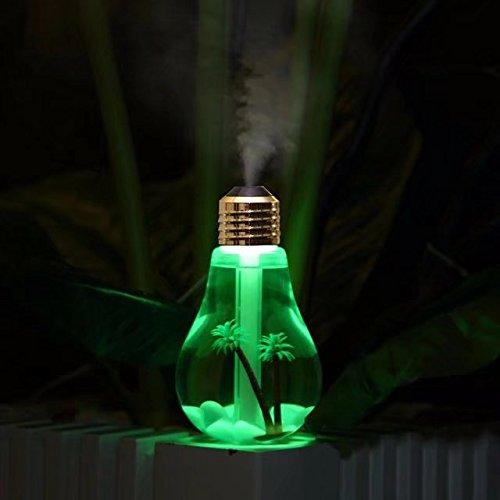 BoNew - Humidificateur à ultrasons USB pour la maison ou le bureau - Mini diffuseur d'arômes LED - Veilleuse d'aromathérapie - Bouteille créative - Couleur rouge.