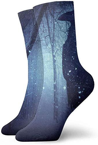 ngxianbaimingj Forest Midnight Moonlight Crow Calcetines cortos para adultos Calcetines frescos de algodón para hombres Mujeres Yoga Senderismo Ciclismo Correr Fútbol Deportes