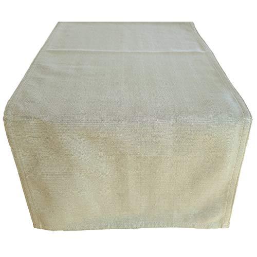 CUSHYSTORE Tischläufer im Bauernhaus-Stil, 100 % Baumwolle, einfarbig, einfarbig - Grün - 121.9 cm