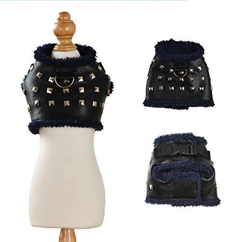"SEIS Winter Cat Rivet Leather Jacket Thicken Pet Costume Warm Dog Harness Fashion Style Clothes Coat for Cats Small Dogs (S (Chest Circumference 26cm/10.2""))"