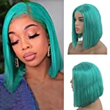 """Silky Straight Bob Human Hair Wig for Black Women 150 Density Middle Part Short Brazilian Lace Front Wigs with Baby Hair Glueless Bleached Knots 10"""" Lake Blue Color"""
