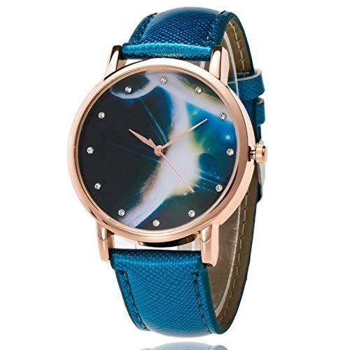 Reloj de cuarzo para mujer con correa de piel planetaria.
