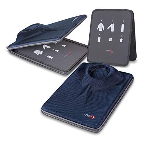 CABIN GO Porta Camicia da Viaggio Custodia Borsa per Camicie Indumenti per Il Trasporto e Viaggio di Camicie Senza Grinze in Valigia con Inserto per Piegatura Bilaterale per Uomini (Blu/Grigio)