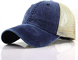 QOHNK Summer Adjustable Mesh Net Trucker Ponytail Baseball Cap For Women Men Girls Hat