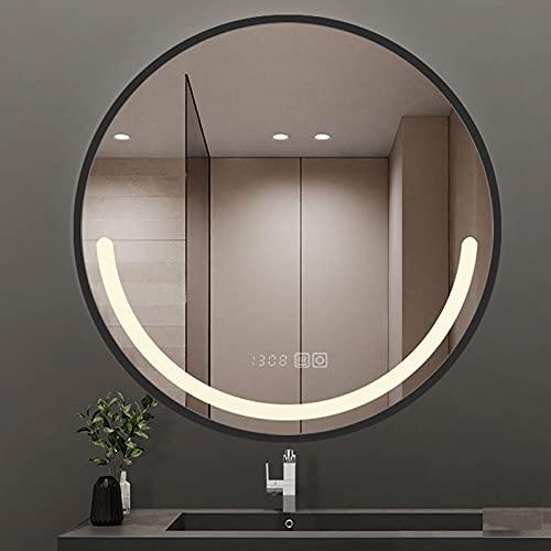 Espejo Baño Pared Redondo con Marco Negro/Dorado, Espejo De Maquillaje con Luz LED, Entrada, Espejo Especial Hotel Estrella IP54