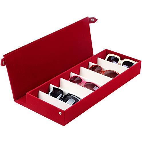 Aufbewahrung8 Slots Multifunktionsuhr Schmuck Brillen Display Box Sonnenbrillen Organizer StäNder Fach Aufbewahrungsbox Eyewear Fall Uhr Schmuck Sammler,Rot