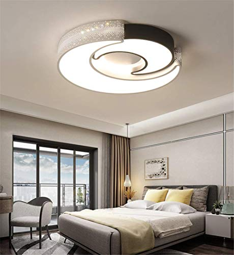 OOFAY TAPS Simple Moderne LED Plafonnier Chambre Ronde Lune Créatif Acrylique Salon Salle Enfants Lampe Télécommande Stepless Diamètre Gradation 40 * 8H,Dimming,40 * 8Cm