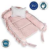 Babynest nestchen Baby Nest - babynestchen Kokon kuschelnest für Neugeborene SET mit Kissen Bett liegekissen 90 x 60 cm Grau-Rosa mit Rüsche