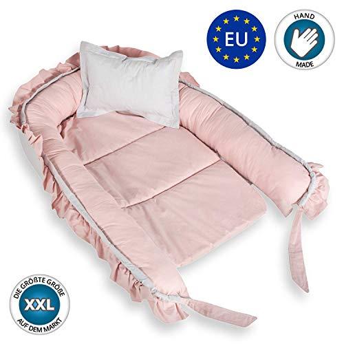Babynest Nestchen Babynestchen Set 90x60cm - Baby Nest bett für Neugeborene Babybett kuschelnest rosa Mädchen Liegekissen mit Kissen