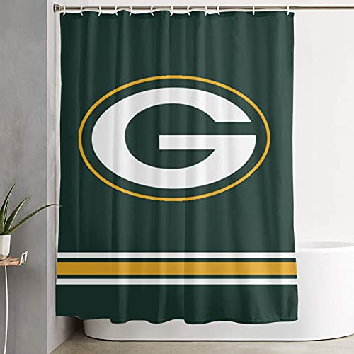 Green Bay Packers Shower Curtain Water Repellent Curtain Liners with 12 Hooks Bathroom Machine Washable 59 x 70 inche