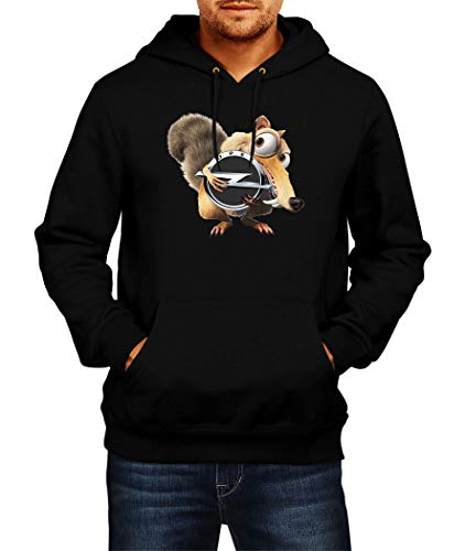 Sweatshirt OPEL Scrat Ice Age Logo Hoodie Herren Men Car Auto Tee Black Grey Long Sleeves Present Christmas (2XL, Black)