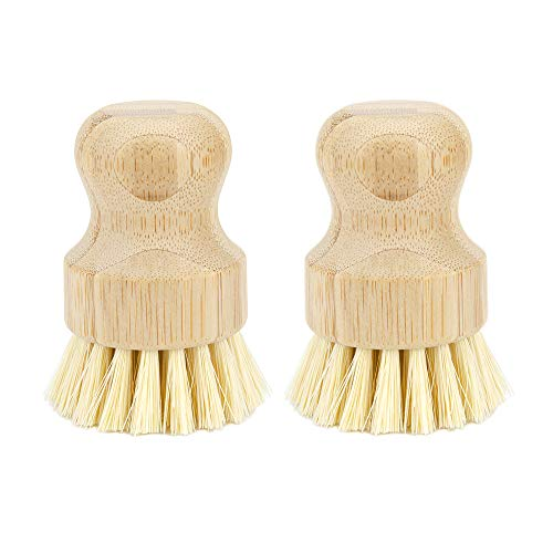 WISH Cleaning Scrub Brush for Cast Iron Skillet Pots Pans - Made of 100% Bamboo Handle and Coconut Bristles (2 Pack)