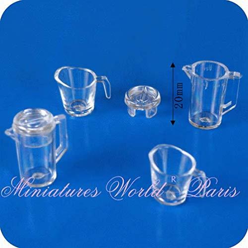 Miniatures World - 2 garrafas con Tapones 2 jarras de Resina para Decoraciones en Miniatura y Casas de muñecas en Escala 1:12