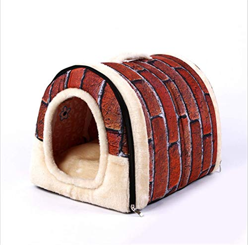 SZBTF zachte warme ster patroon 2 in 1 huisdier nest anti-slip hond kat bed opvouwbare winter zachte gezellige slaapzak mat pad kussens, L=23.6X15.7 in, Vintage red brick color