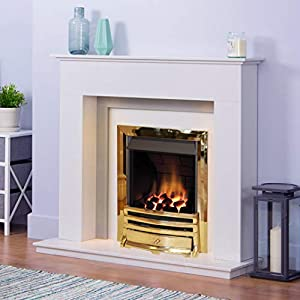 White and Grey Modern Marble Stone Fire Surround Wall Gas Fireplace Suite Brass Inset Gas Fire with Downlights