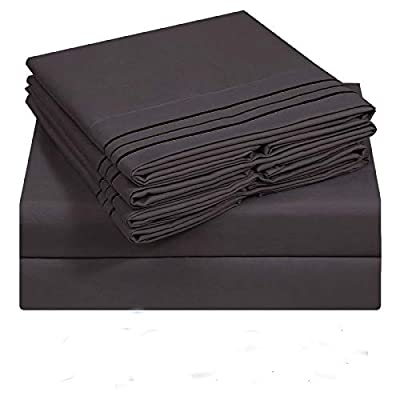 VERZEY Queen Bedding Sheet 6 Pieces Microfiber 1800tc Soft Cozy Cooling Wrinkle, Tear, Fade-Resistant Deep Pocket(Dark Grey)