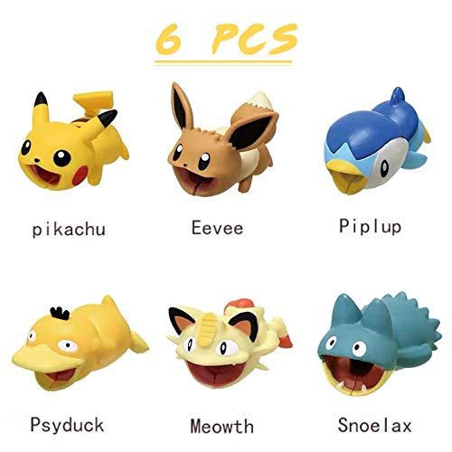 Kabelschutz für Haustiere, Motiv Anime (Pikachu, Eevee, Piplup, Psyduck, Meowth, Snoelax), geeignet als Geschenk für Freunde und Kinder, 6 Stück