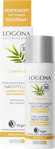 LOGONA Naturkosmetik Porenverfeinerndes Nachtfluid, Normalisiert den Fettgehalt der Haut, Harmonisiert das Hautbild, Vegan, 30ml