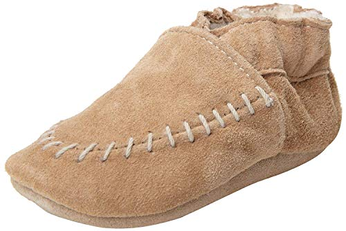 Robeez Cozy Moccasin Crib Shoe, Taupe, 6-12 Months M US Infant